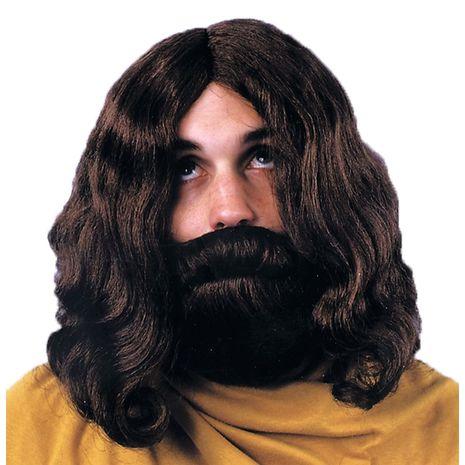 Библейский парик и борода коричневые