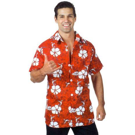 Гавайская рубаха красная