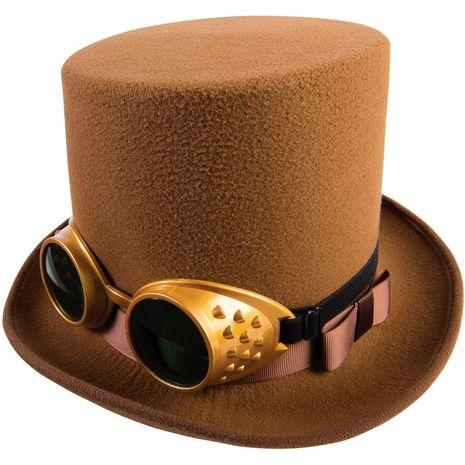 Коричневая шляпа с очками в стиле стимпанк