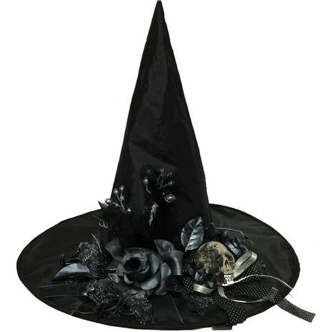 Шляпа ведьмы с цветами и черепом