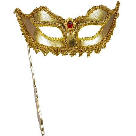 Венецианская маска золотая на палочке
